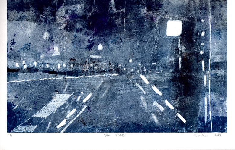 "The Road Monotype 11""x16"" on BFK 2012"